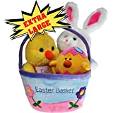Plush Easter Basket For Baby - Toddler & Kids Of All Ages. Set Includes Plush Easter Bunny, Plush Easter Egg, Plush Easter Chick, Easter Basket