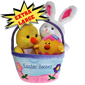 Amazon plush easter basket for baby toddler kids of all plush easter basket for baby toddler kids of all ages set includes plush negle