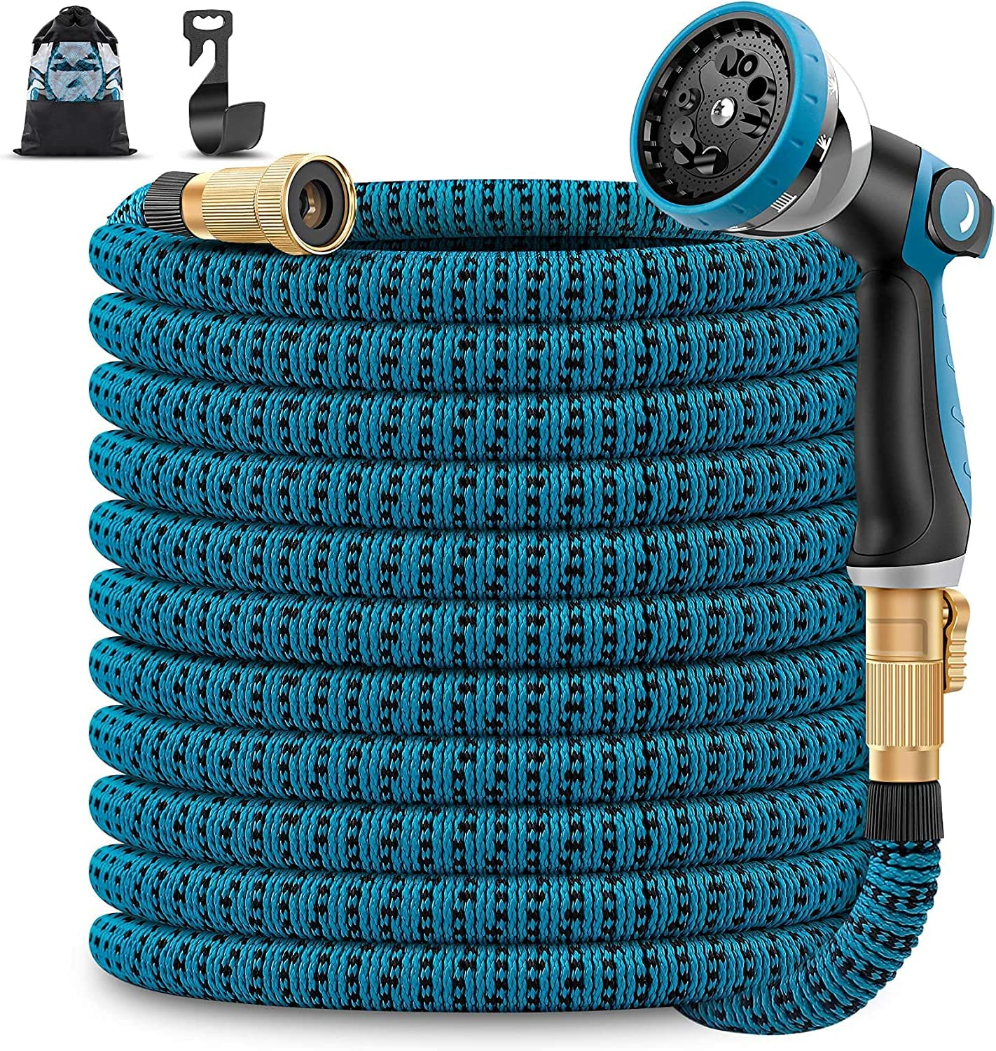 Unywarse Garden Hose 50ft Expandable Water Hose, Expanding Garden Pipe with 10 Function Zinc Nozzle, Solid Brass Fittings, Extra Strength Fabric, Lightweight Yard Hose for Watering and Washing