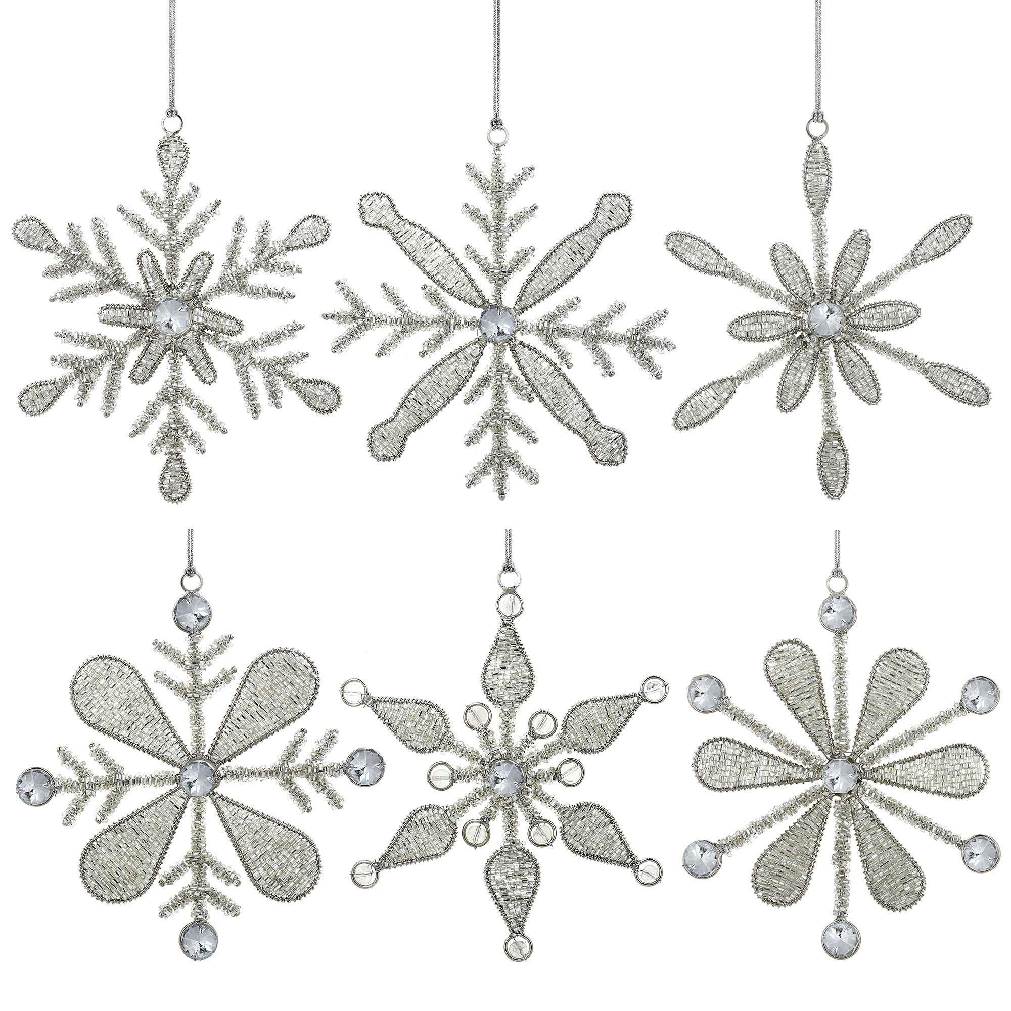 ShalinIndia Set of 6 Handmade Snowflake Iron and Glass Pendant Christmas Ornaments, 6 Inches