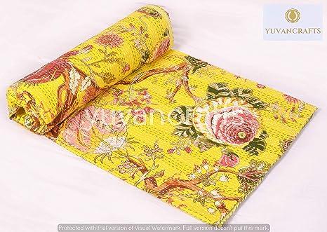 Yellow Kantha Quilt Queen Kantha Throw Indian Handmade Kantha Blanket Floral Kantha Bedspread