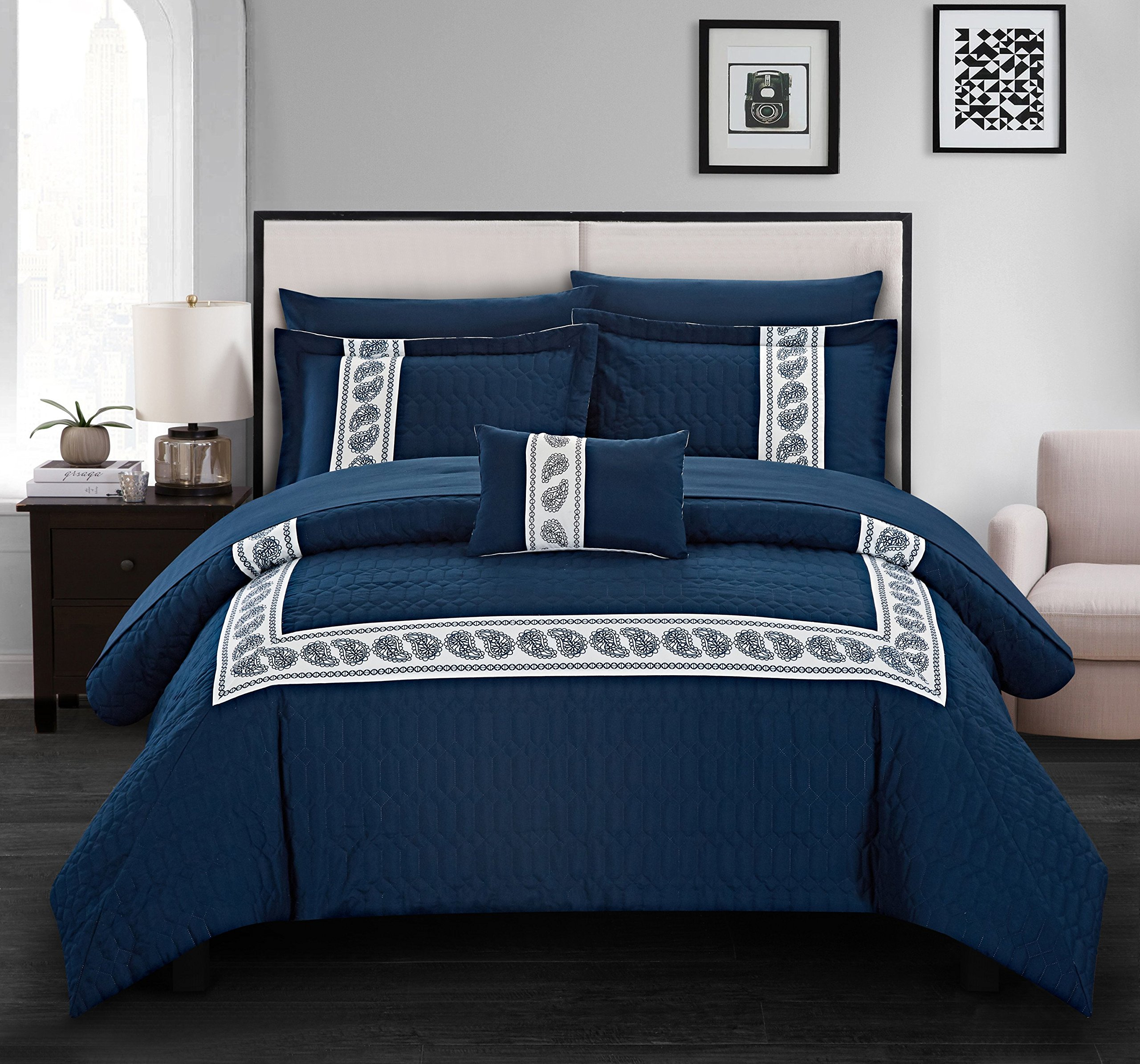 Chic Home Titian 8 Piece Comforter Hotel Collection Hexagon Embossed Paisley Print Border Design Bed in a Bag-Sheet Set Decorative Pillow Shams Included, Queen, Navy