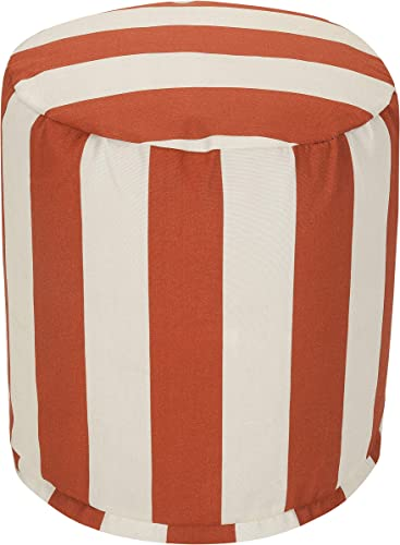 Majestic Home Goods Burnt Orange Vertical Stripe Indoor Outdoor Bean Bag Ottoman Pouf 16 L x 16 W x 17 H