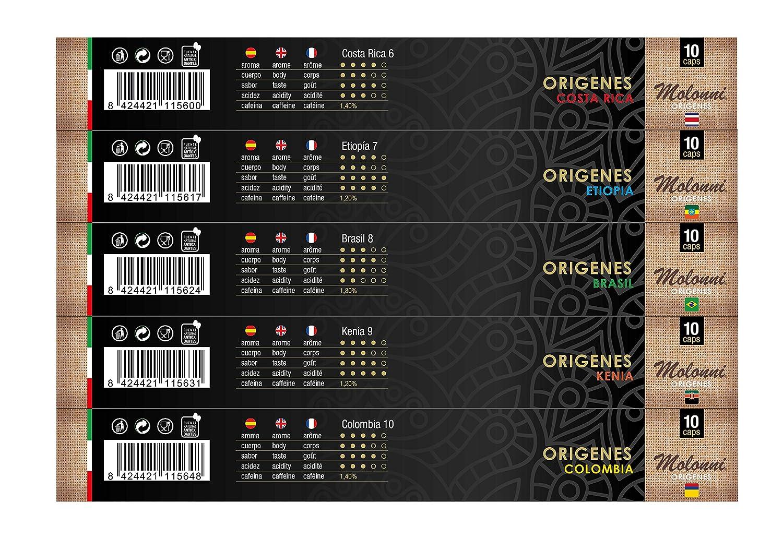 Molonni - Cápsulas de café - Surtido Orígenes - Compatible con Nespresso - 50 cápsulas: Amazon.es: Alimentación y bebidas
