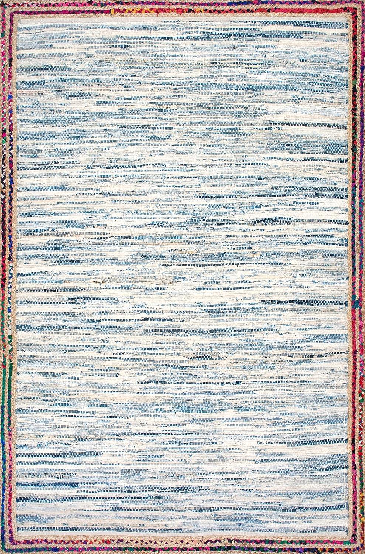 Light Blue nuLOOM Handwoven Braided Border Denim Rag Area Rugs 3 x 5