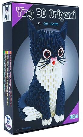 Origami 3d Kit gato/Cat 485 PZ. - Cartón