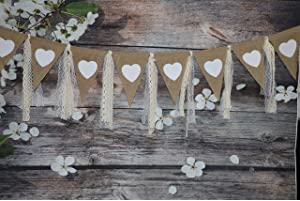 rustic burlap banner with lace printed heart garland pennant vintage bunting banner triangle flags diy decoration