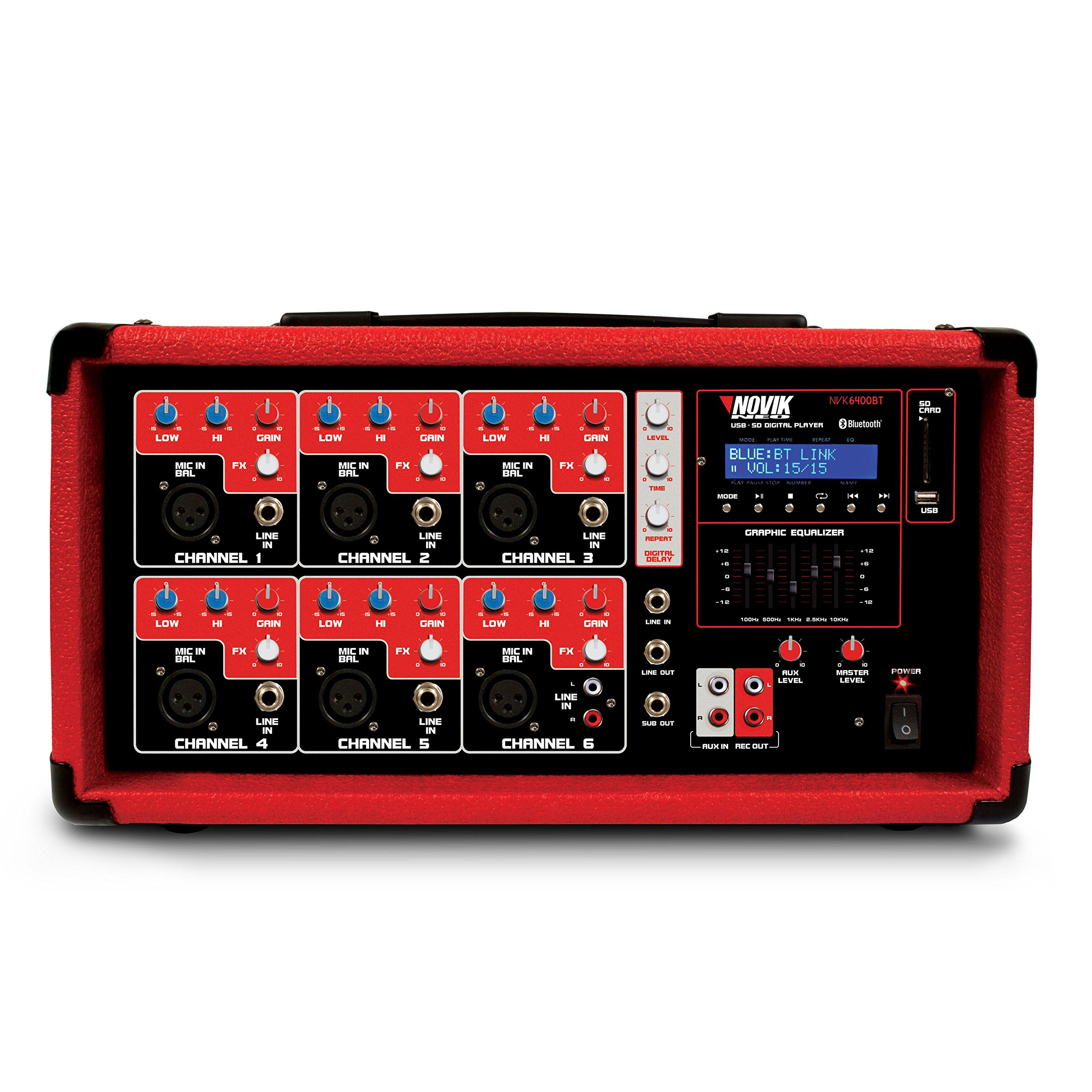 NOVIK NEO MIXER NVK 6400-BT | 6 Channel Powered Mixer Bluetooth and MP3 Player With USB and SD Slot and Remmote Control
