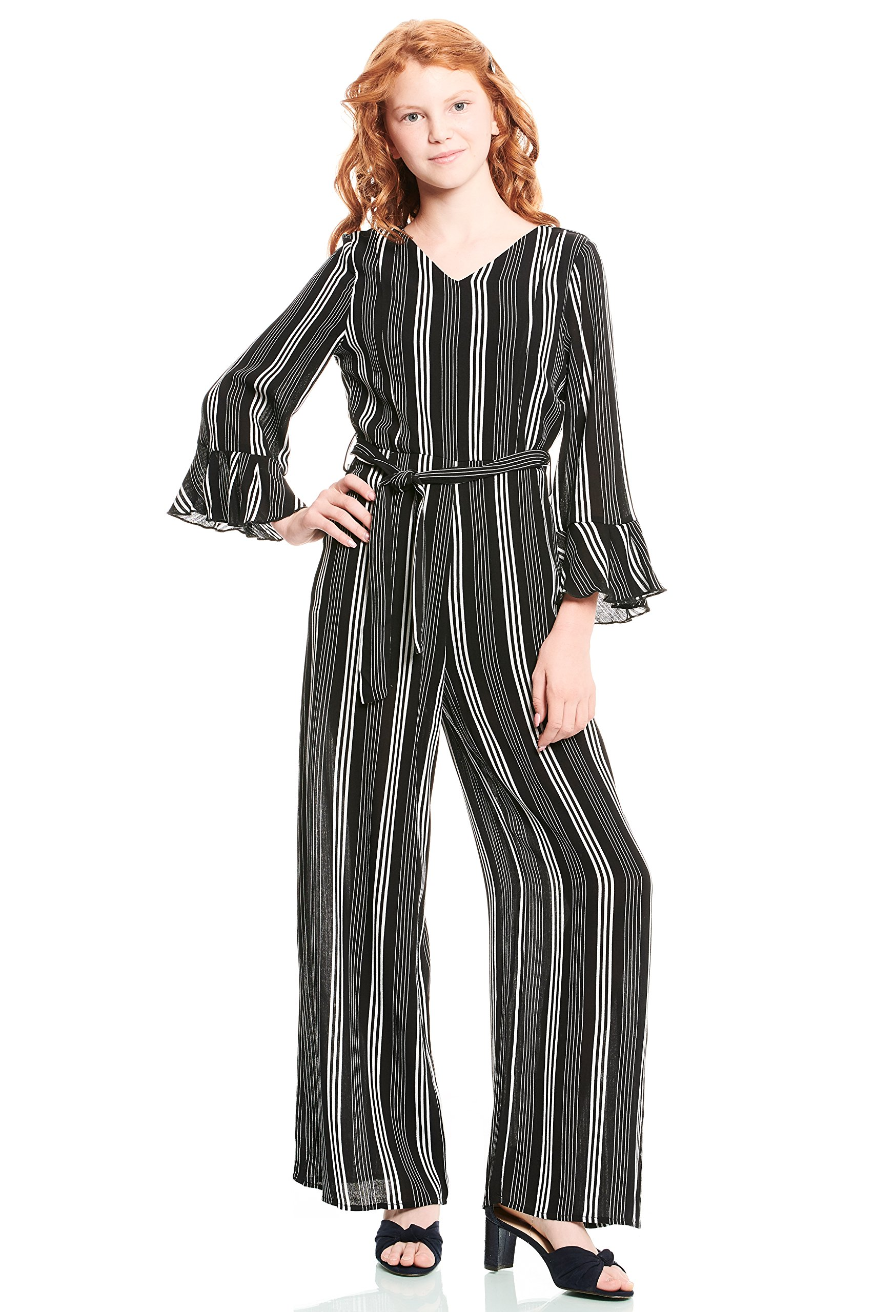 Truly Me Big Girls Tween Printed Jumpsuits (with Many Options), 7-16 (Black Stripe, 16)