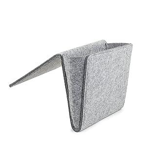 Kikkerland Boiled Wool Bedside Pocket, 22 x 33 x 4 cm, Grey