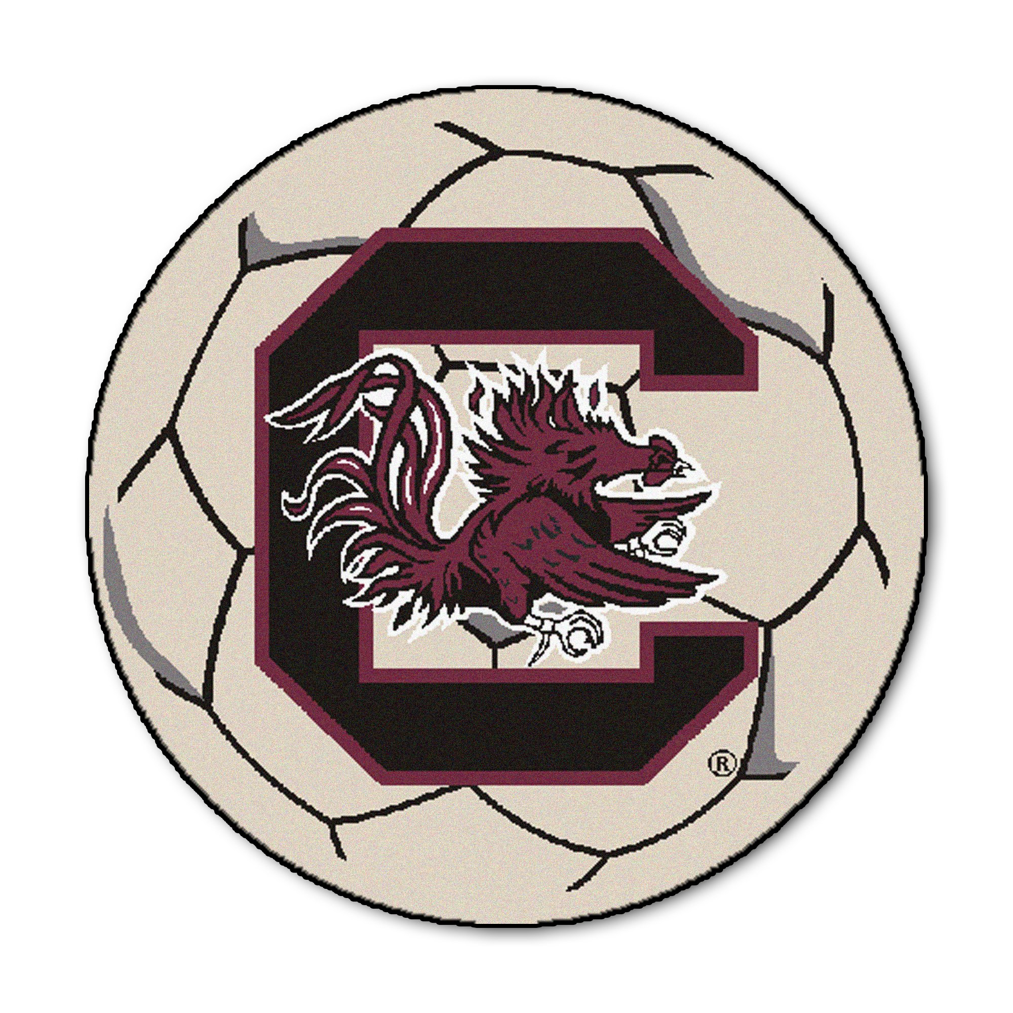 NCAA University of South Carolina Gamecocks Soccer Ball Mat Round Area Rug by Unknown (Image #1)