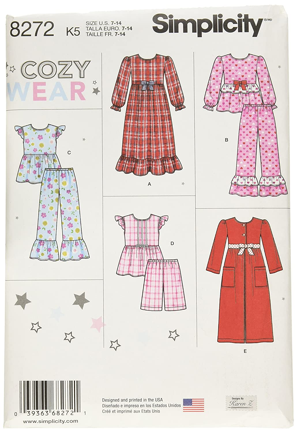 Simplicity Patterns 8272 Child's Girl's Sleepwear Robe, Size: K5 (7-8-10-12-14) OUTLOOK GROUP CORP US8272K5