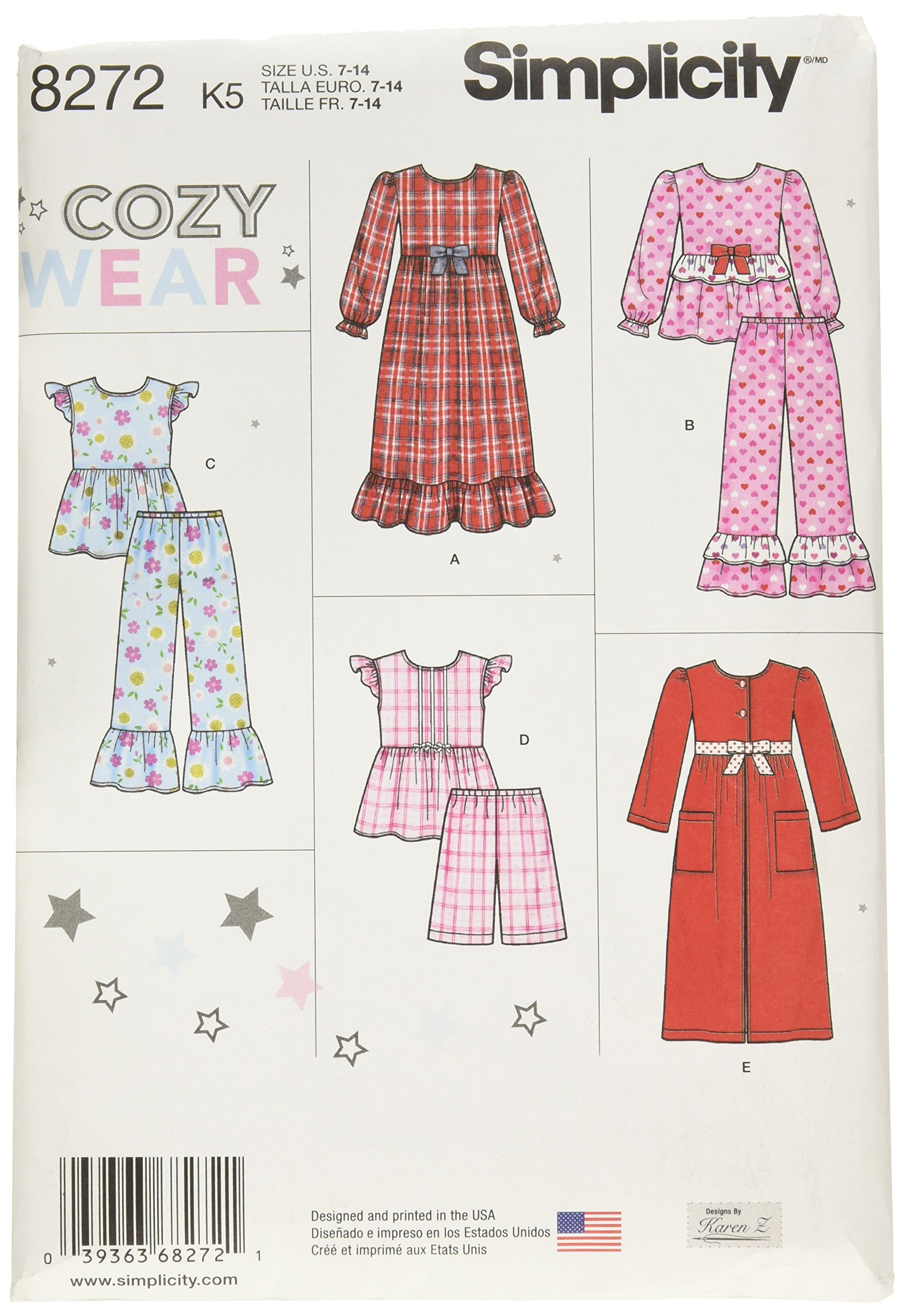 Simplicity Pattern 8272 K5 (7-8-10-12-14) Child's and Girl's Sleepwear and Robe, Paper, White, 22 x 15 x 1 cm