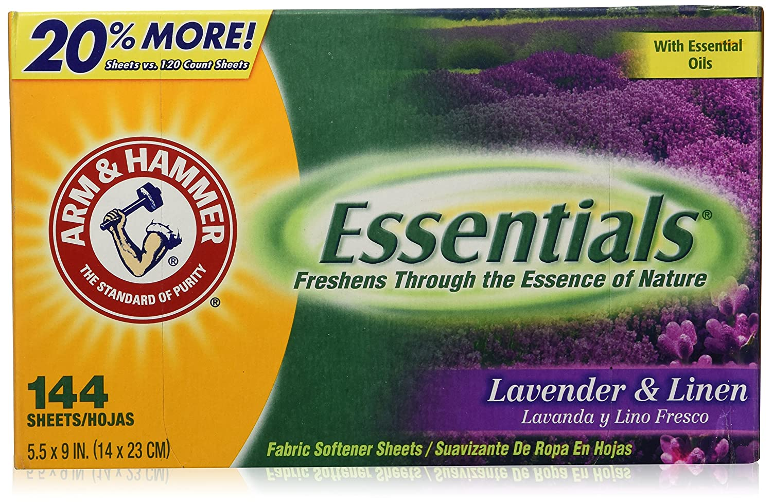 Arm & Hammer Essentials Dryer Sheets, Lavender & Linen, 144 Count