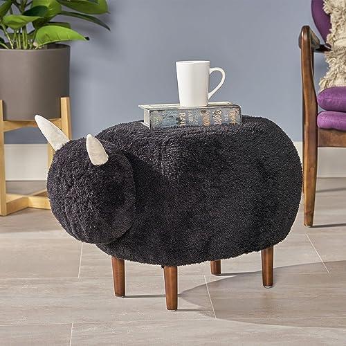 Christopher Knight Home Brebis Furry Sheep Ottoman, Black, Dark Walnut