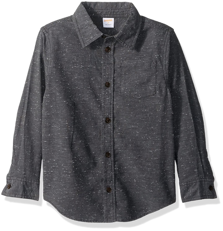 Gymboree Boys' Big Grey Neppy Woven Shirt