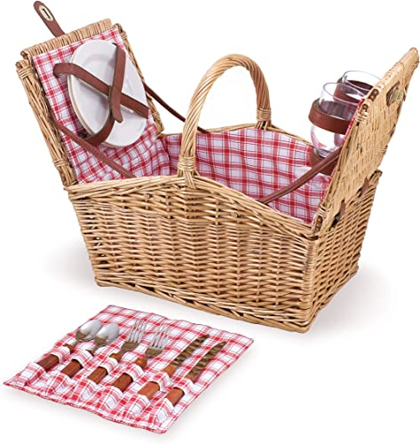 Small Picnic Basket Set for 2, with Plates, Wine Glasses, Cutlery, and Corkscrew [Picnic Time] Picture