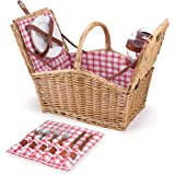 Picnic Time Piccadilly Willow Picnic Basket for Two People, with Plates, Wine Glasses, Cutlery, and Corkscrew - Red…