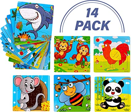 """Vileafy Puzzle Party Favors for Kids 12-Pack with Individual Storage Tray /& Organza Bag 5 3//4/"""" x 5 3//4/"""" Per Pack Popular Bulk Puzzles Among Children"""