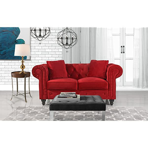 Divano Roma Furniture Classic Modern Scroll Arm Velvet Chesterfield Love Seat Sofa (Red)