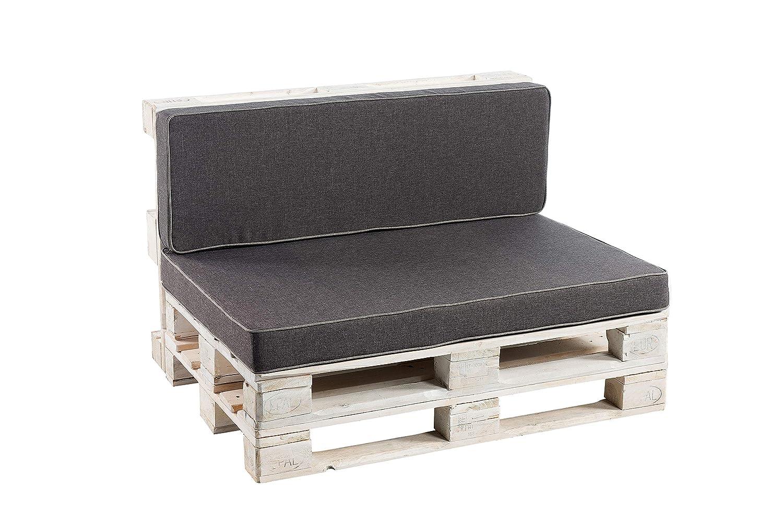 Palettenkissen Sitzkissen, Rückenkissen Schaumkissen glatt (Sitzkissen 120x60, Anthrazit)