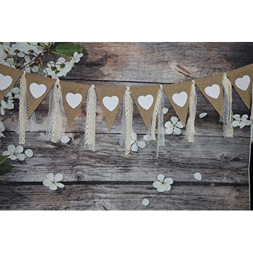 9ft rustic burlap banner with lace printed heart garland pennant burlap triangles banner triangle flags diy