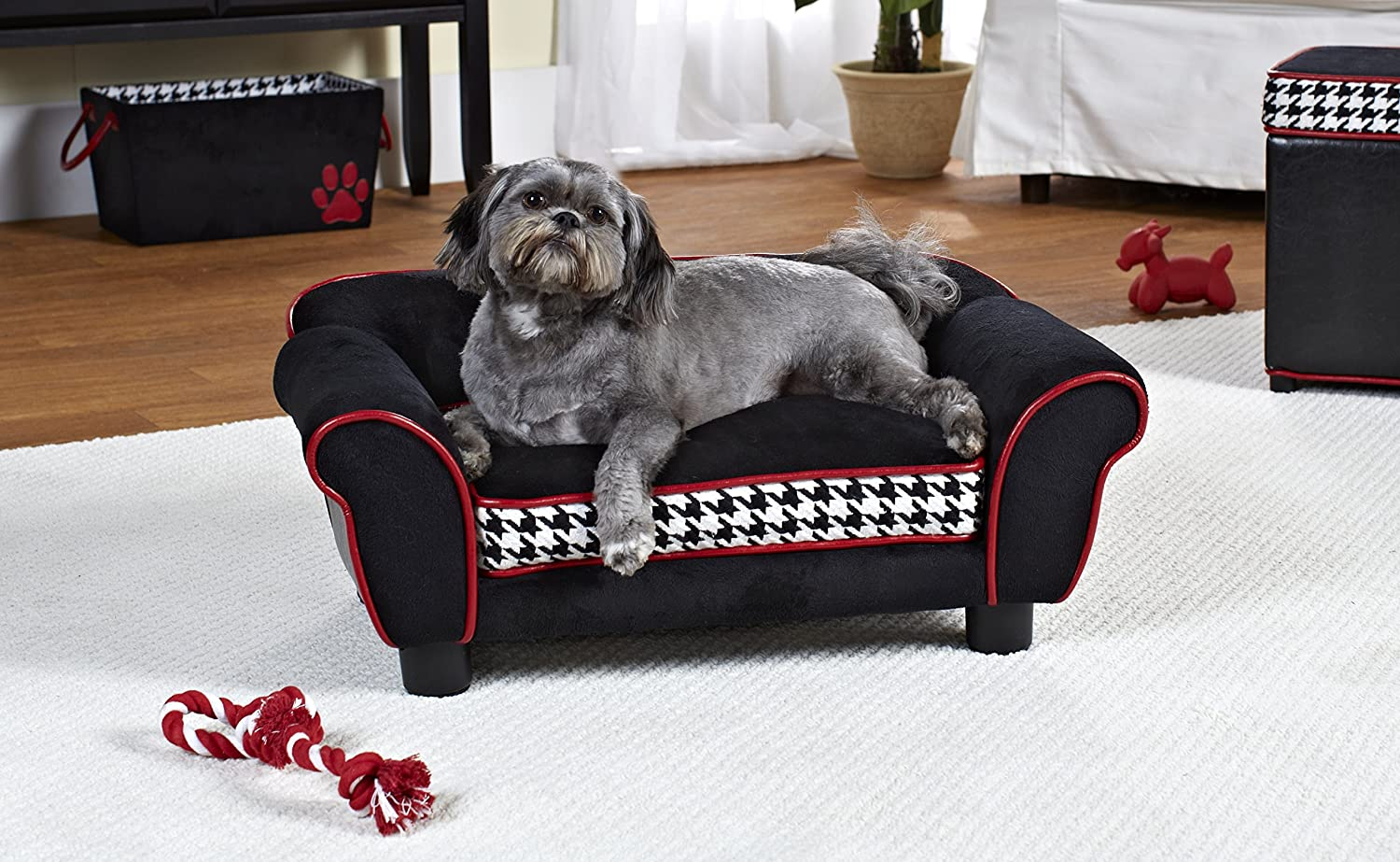 BlackWhite LargeWohnDirect Designer Pet Sofa Bed for Dogs & Cats   Durable, Robust & Easy to Clean   Comfortable Soft Cushion for Your Dog and Practical Toy Storage Bag for Toys   64x45x40cm