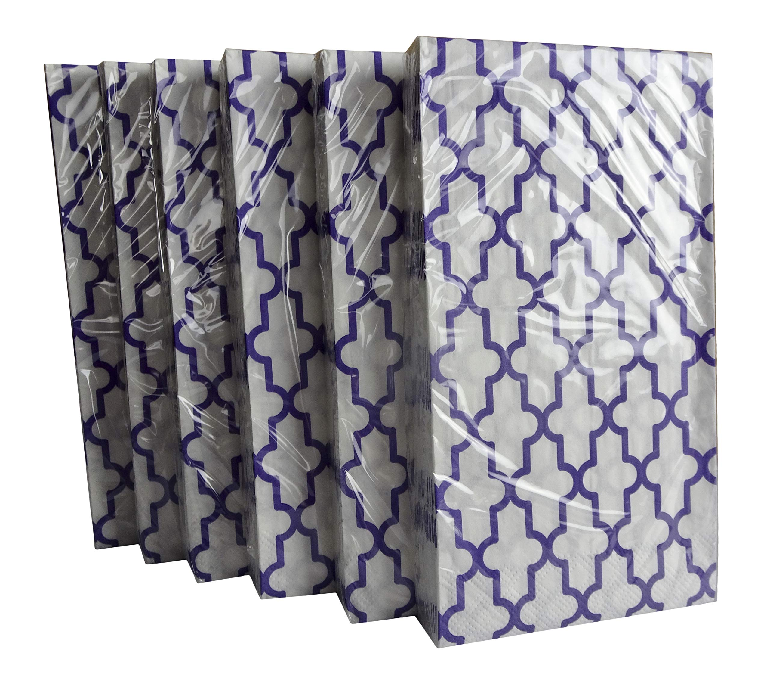 Purple Geometric Paper Guest Towels or Dinner Napkins, 16 Count (Pack of 6)