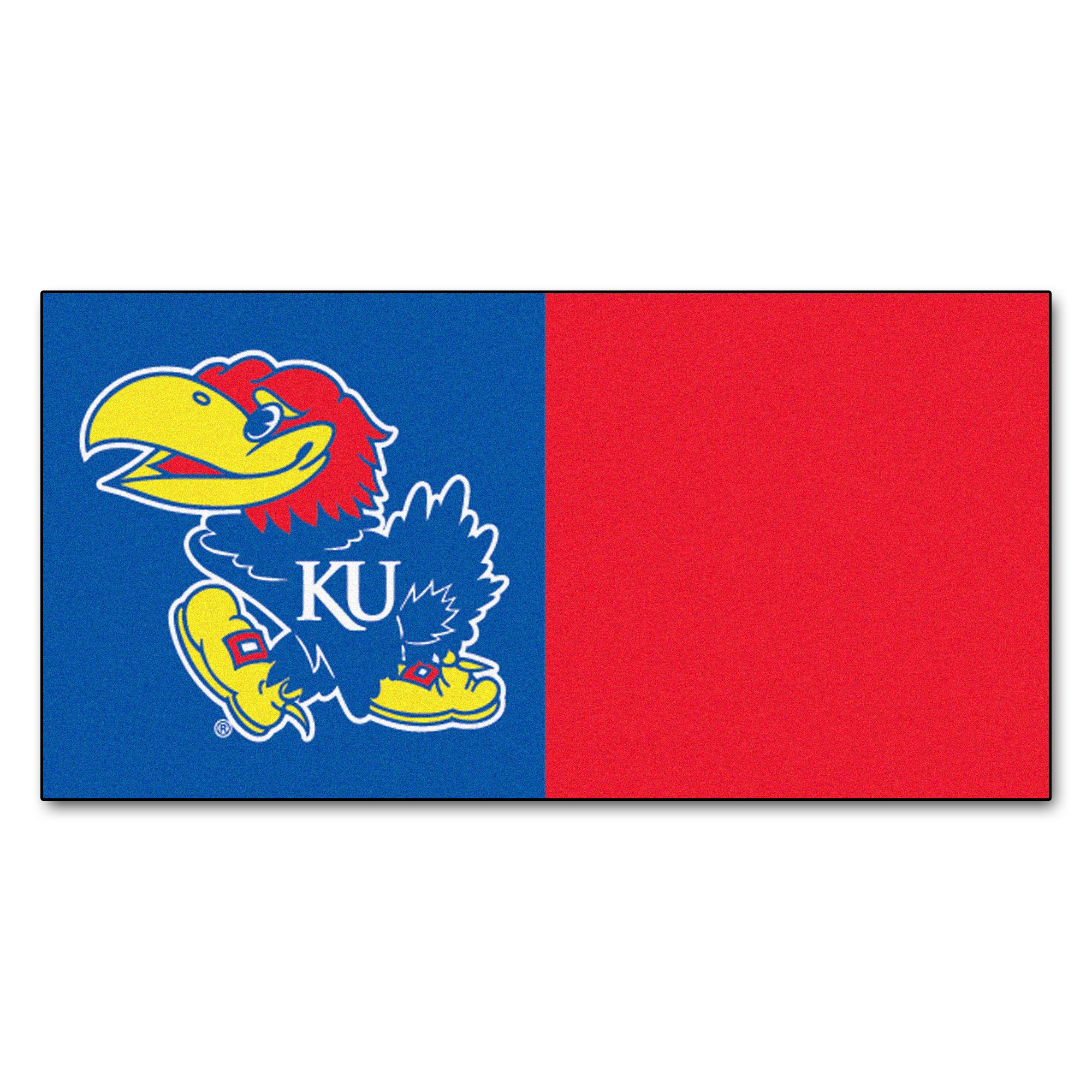 FANMATS NCAA University of Kansas Jayhawks Nylon Face Team Carpet Tiles