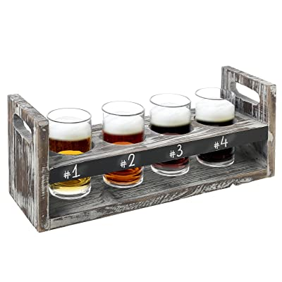 MyGift Rustic Torched Wood 5 pc Craft Beer Flight Tasting Serving Set