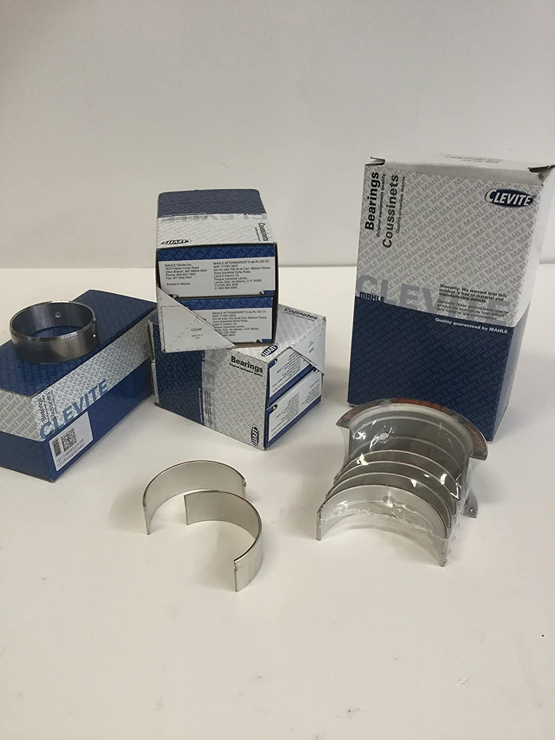 Clevite 77 Rod& Main & Cam Bearing Kit compatible with Small Block Chevy 350 327 307 305 302 267 265 (.010 rods/.10 mains) Mahle