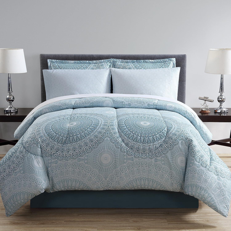 Queen Bed in a Bag Ellison Great Value Sophia Stripe 8 Piece Blue