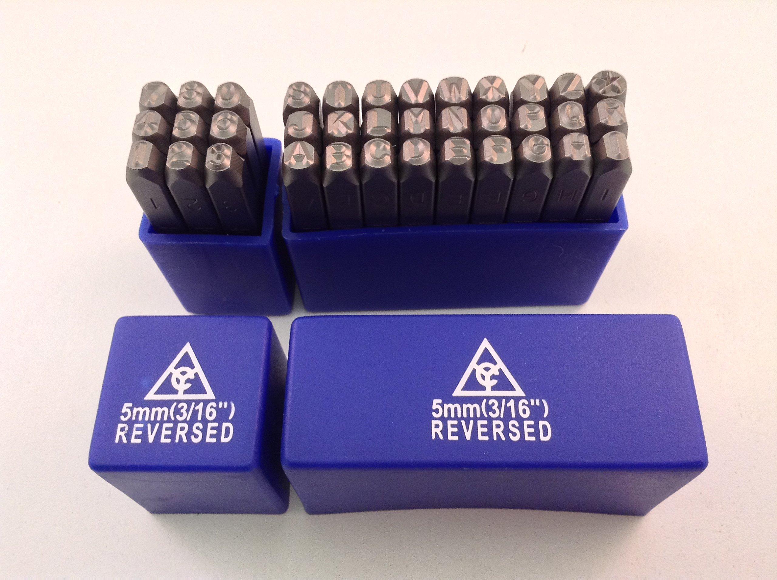 Reverse 36pc 3/16'' 5mm Steel Letter & Numer Stamp Punch Die Set by AK Garage