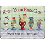 Keep Your Eggs Cosy, Metal Sign, 'Happy Eggs are Tasty Eggs', Retro Sign
