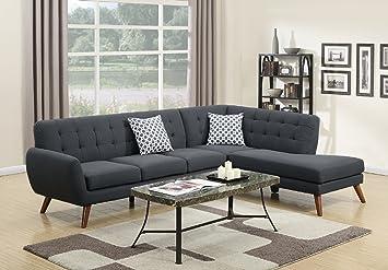 Amazoncom Modern Retro Sectional Sofa Ash Black KitchenDining