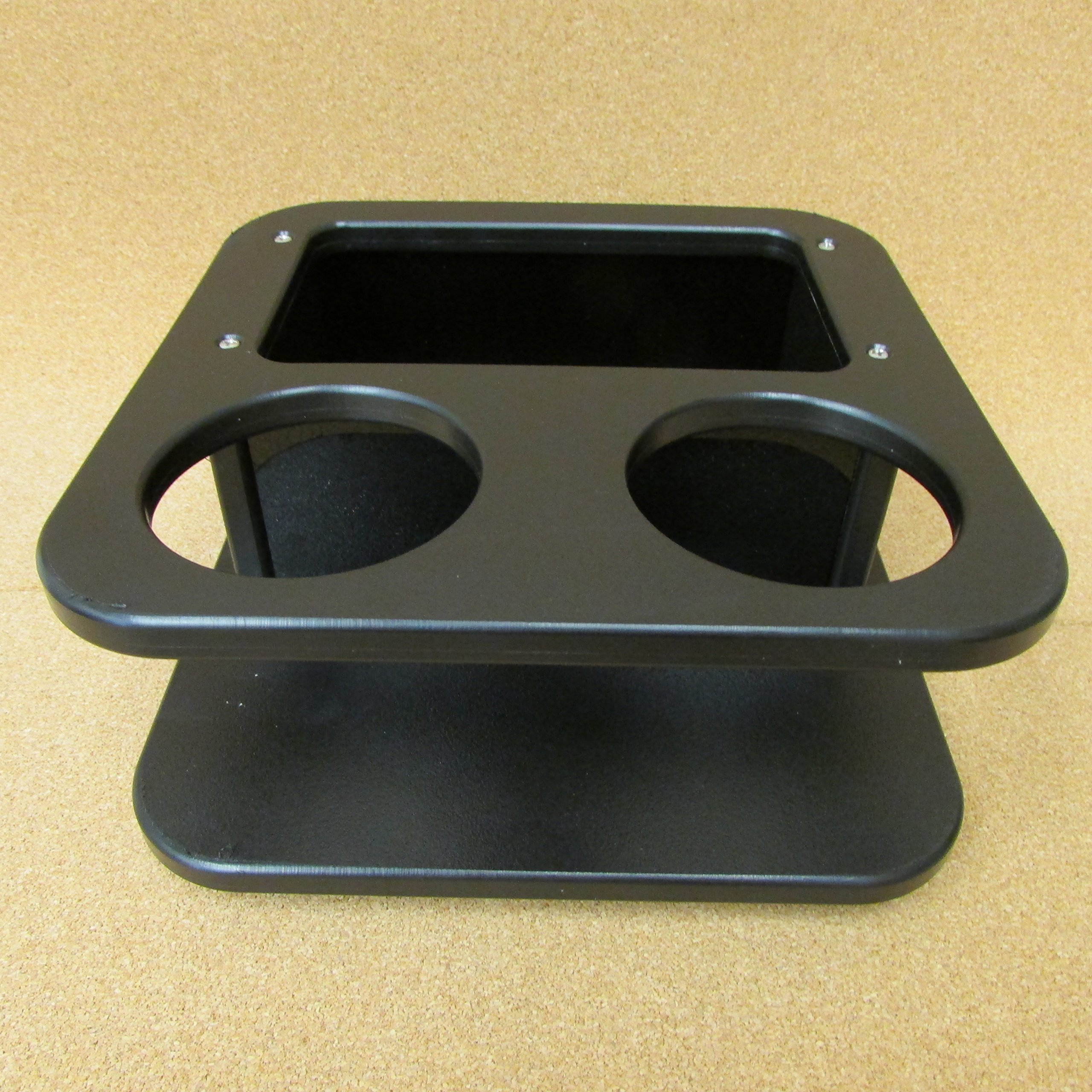 Large Two Beverage Cup Holder w Storage Box Catch all Black