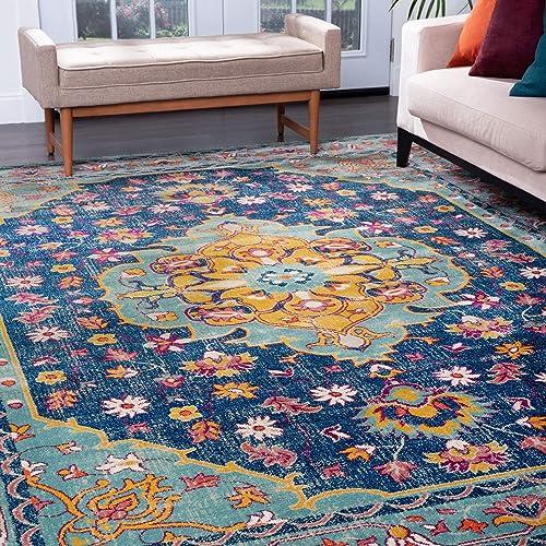 Tayse Yuliana Aqua 9×12 Rectangle Area Rug for Living, Bedroom, or Dining Room – Boho, Oriental