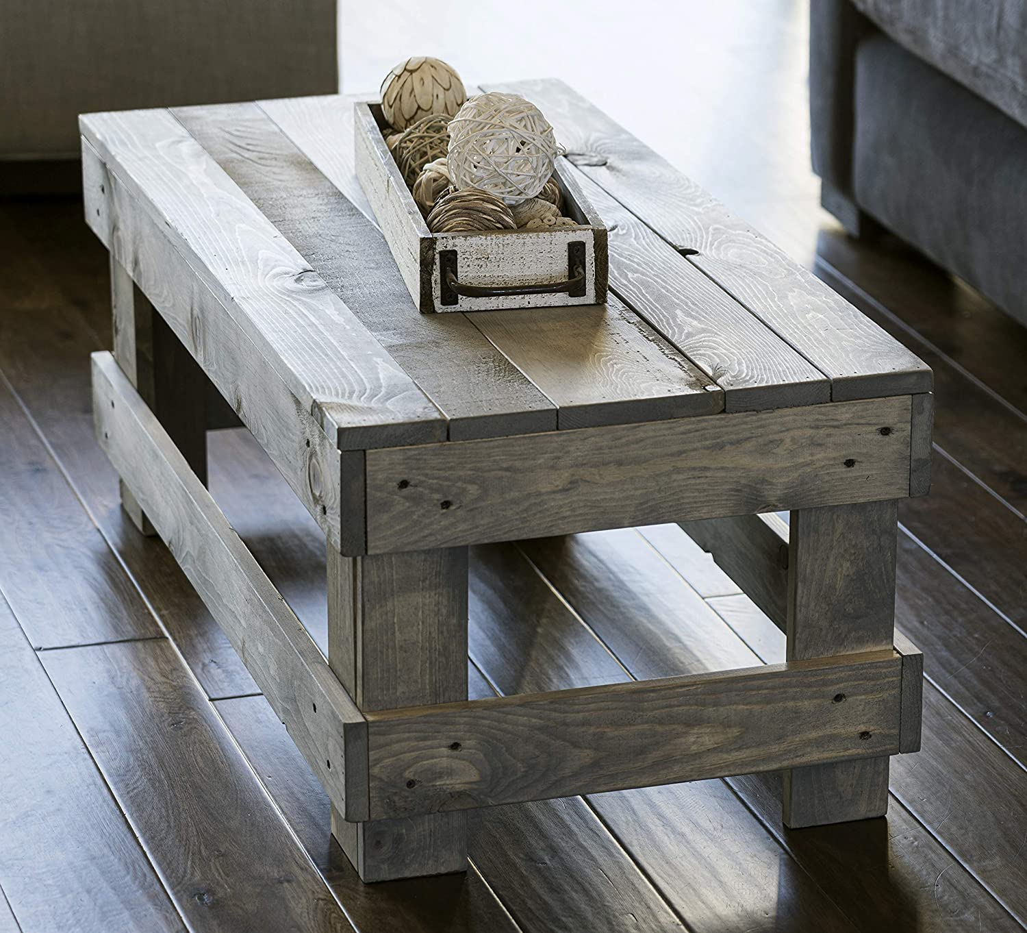 Amazon Com Del Hutson Designs Landmark Pine Natural Solid Wood Farmhouse Living Room Coffee Or End Table Coffee Table Grey Kitchen Dining