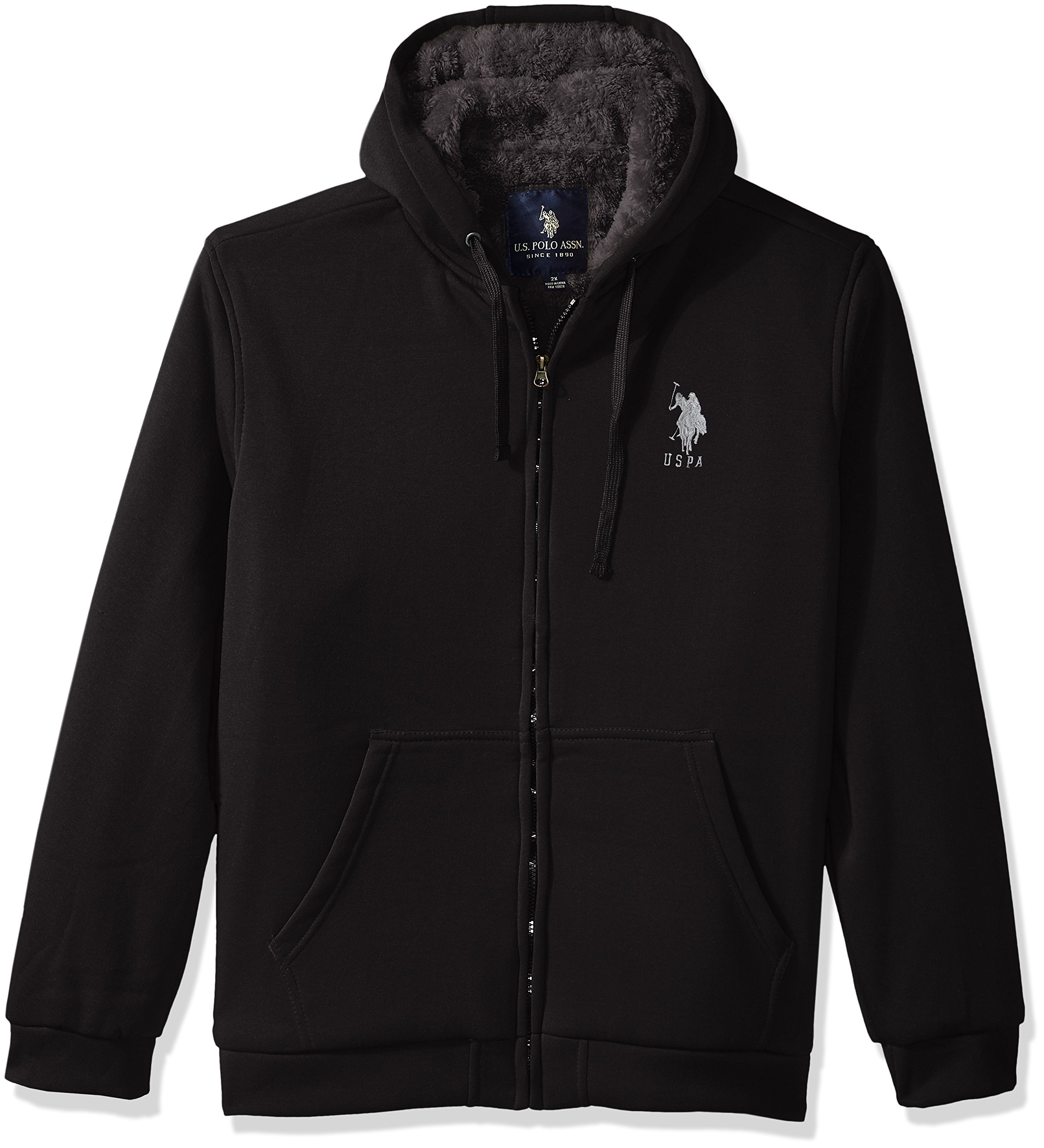 U.S. Polo Assn.. Mens Standard Sherpa Lined Fleece Hoodie, Black 5516, 3X by U.S. Polo Assn.