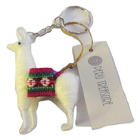 Amazon.com: Lana Cuzco Perú Llama llavero souvenir, Blanco ...