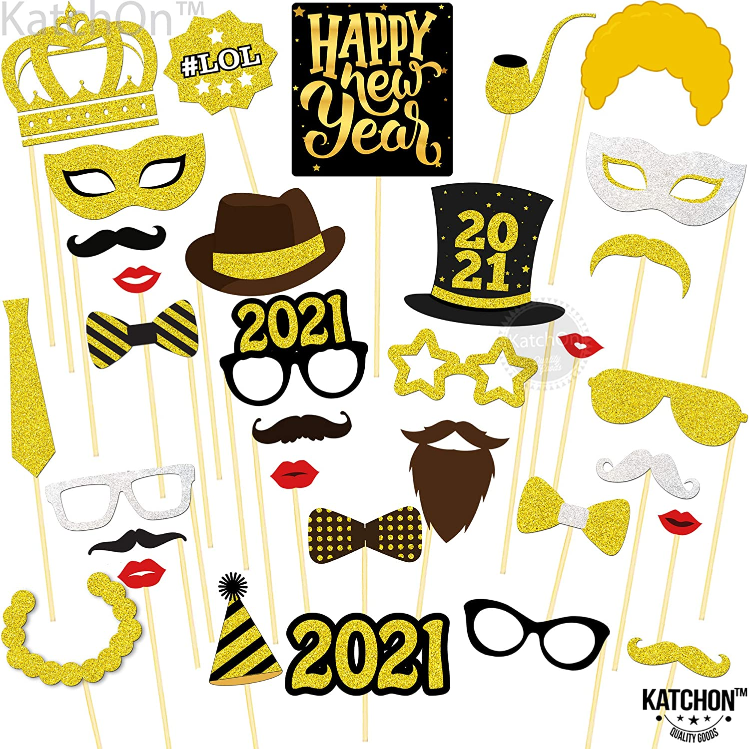 28 St/ück Abschluss Requisiten DIY Mustache Lippen Brille Krawatte Selfie Requisiten Dekoration 28 St/ück Dsaren 2021 Photo Booth Props