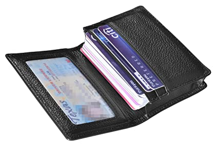 outrip genuine leather business card holder name card case credit card wallet with id window rfid - Business Card Wallet