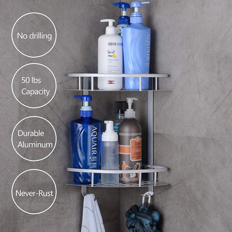 Badregal Ohne Bohren, Sunvito Eckregal Duschregal Ohne Bohren, Badezimmerablagen Anti-Rost Aluminiumlegierung mit 2 Etagen für Bad, Küche