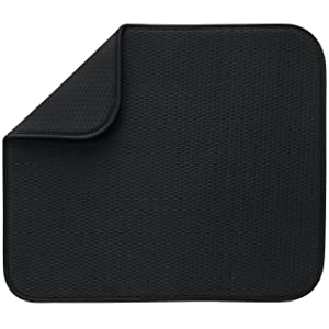 Envision Home Microfiber Dish Drying Mat, 16 by 18-Inch, Black
