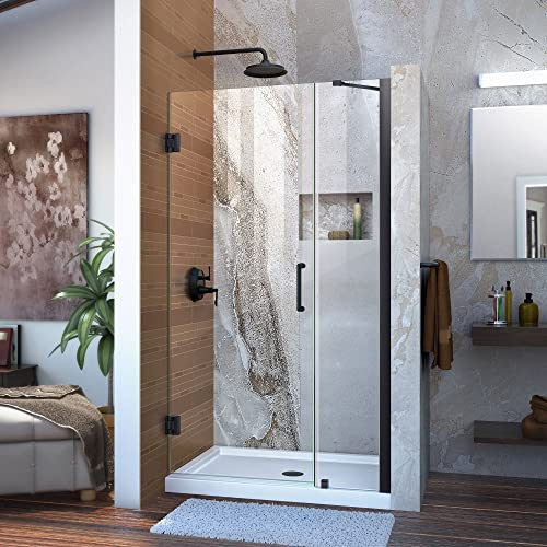 DreamLine Unidoor 38-39 in. W x 72 in. H Frameless Hinged Shower Door with Support Arm in Satin Black, SHDR-20387210-09