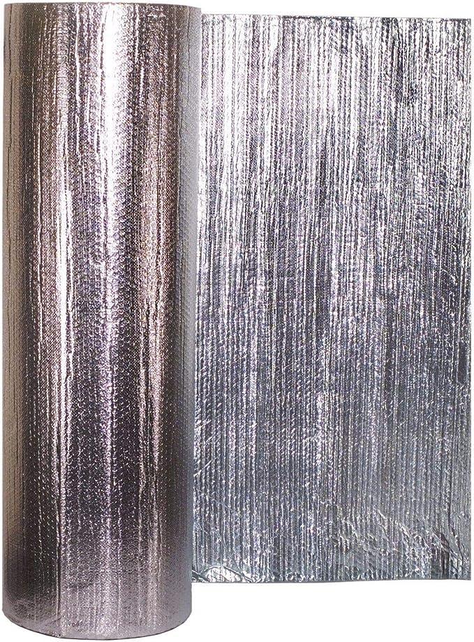 Lámina de aislamiento metálico Solar Bay, 30 m2, color plateado, 2 en 1, de polímero, doble lámina, con una sola burbuja de 4 mm, grosor de 1,2 x 25 m: Amazon.es: Bricolaje y herramientas