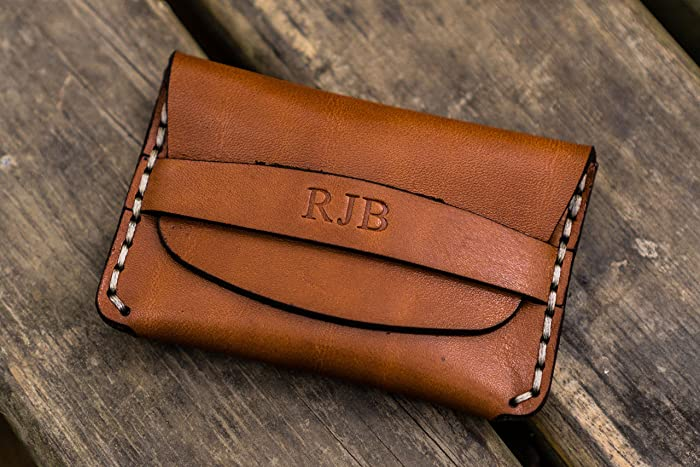 2cf648906c8 Amazon.com  No.36 Personalized Basic Flap Leather Wallet - Brown  Handmade