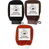 Natural Elephant Exfoliating Hammam Glove - Face and Body Exfoliator Mitt (Black, Brown and Orange (Pack of 3))