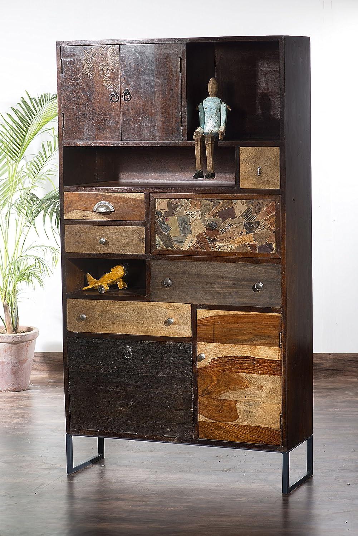 The Wood Times Wohnzimmerschrank Massiv Vintage Look,Mangoholz Massiv, BxHxT 90x165x30 cm