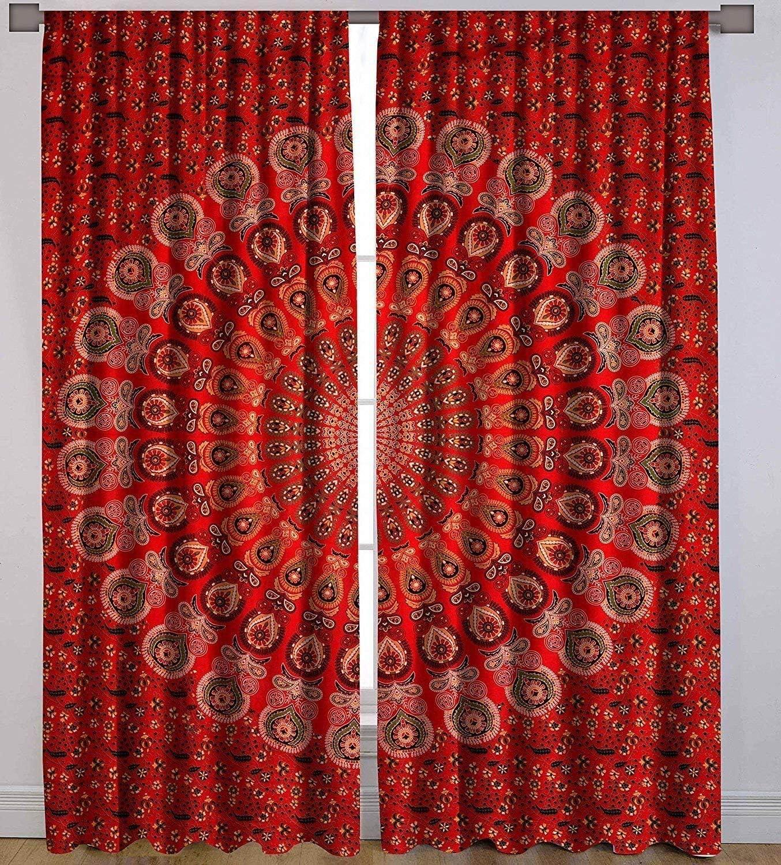 RATANA Peacock Mandala Window Curtains Indian Drape Balcony Room Decor Curtain Boho Set Urban Large Tapestry Window Dorm Curtains Drapes Valances
